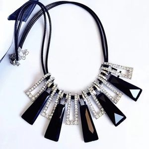 Jewelry - Geometric Black and Silver Statement Necklace